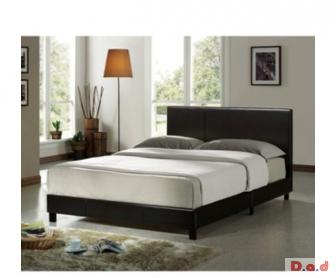 Brown leather look double bed and mattress for sale